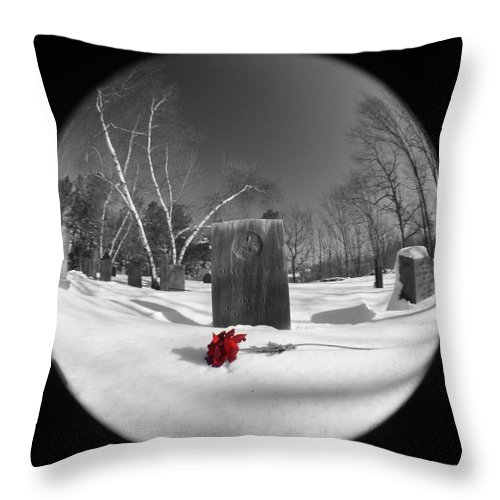Grave Throw Pillow featuring the photograph Red Rose by Erin Rosenblum