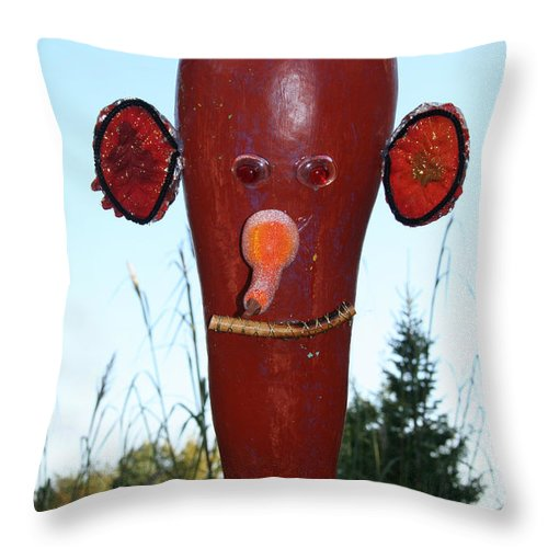 Fall Throw Pillow featuring the photograph Red Scarecrow by Susan Herber