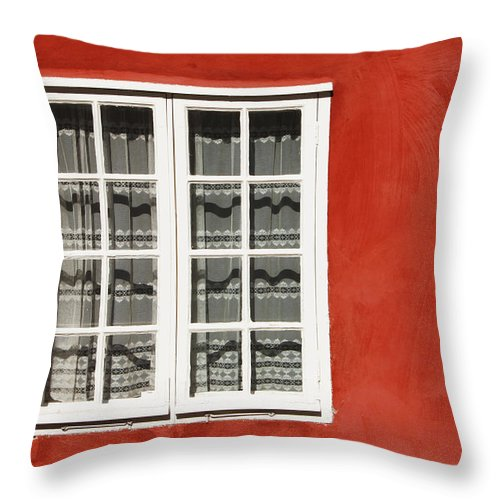Building Throw Pillow featuring the photograph Red Timber House And Window Frame In by Trish Punch