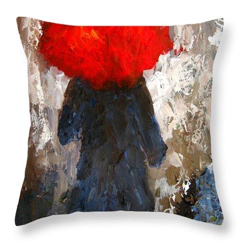 Umbrella Throw Pillow featuring the painting Red Umbrella Under The Rain by Patricia Awapara