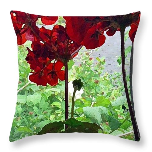 Nature Throw Pillow featuring the photograph Red Window Geraniums by Pamela Patch