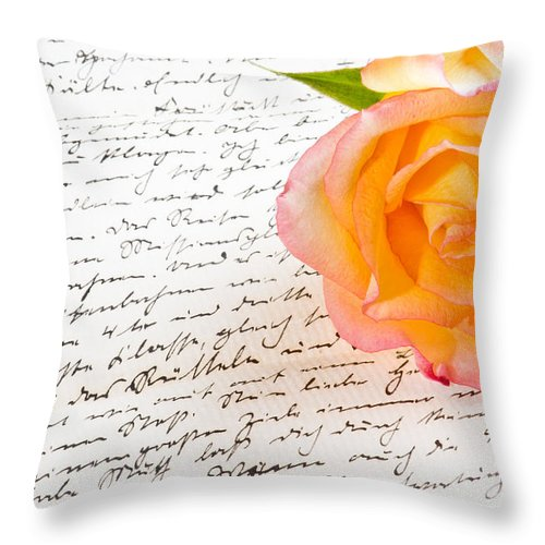 Alliance Throw Pillow featuring the photograph Red Yellow Rose Over A Hand Written Love Letter by U Schade