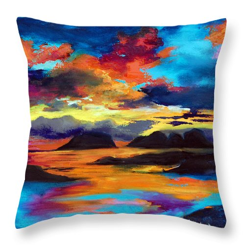 Seascape Throw Pillow featuring the painting Redang Sun by Jennifer Hickman