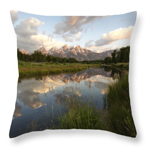 Swampy Snake River Schwabacher Landing Grand Teton National Park Throw Pillow featuring the photograph Reflection At Schwabacher Landing by Paul Cannon