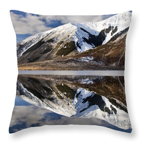 Hhh Throw Pillow featuring the photograph Reflection In Lake Pearson, Castle Hill by Colin Monteath