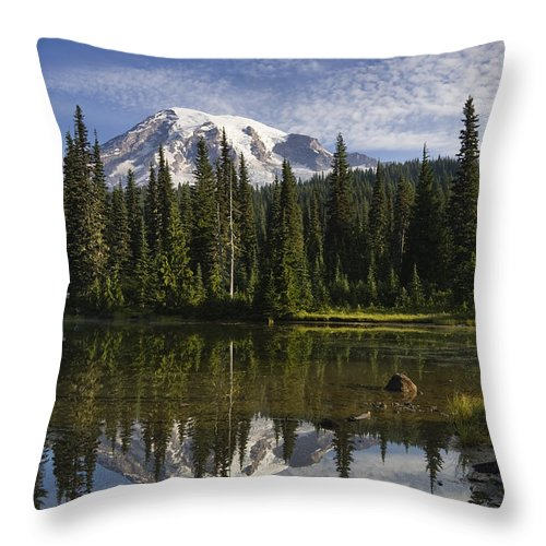 Mp Throw Pillow featuring the photograph Reflection Lake And Mount Rainier by Konrad Wothe