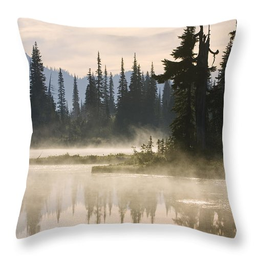 Mp Throw Pillow featuring the photograph Reflection Lake With Mist, Mount by Konrad Wothe