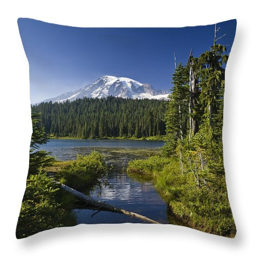 Mp Throw Pillow featuring the photograph Reflection Lake With Mount Rainier by Konrad Wothe