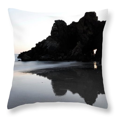 Pfeiffer Rock Throw Pillow featuring the photograph Reflections Big Sur by Bob Christopher