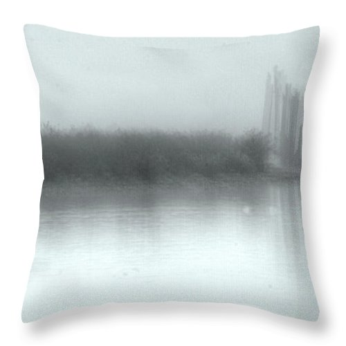 Fog Throw Pillow featuring the photograph Reflections Through The Fog by Rod Wiens