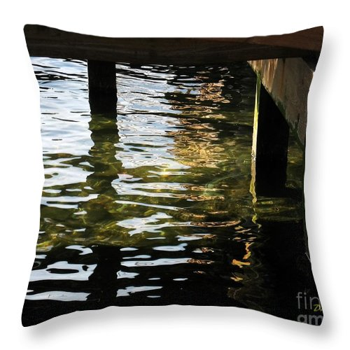 Water Throw Pillow featuring the digital art Reflections Under Pier by Dale  Ford