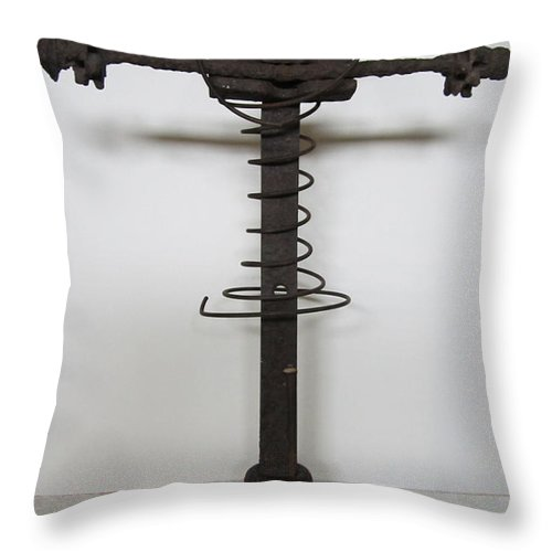 Sculpture Throw Pillow featuring the sculpture Reluctant Sacrifice by Snake Jagger