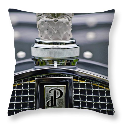 Rene Lalique Throw Pillow featuring the photograph Rene Lalique Glass Eagles Head Hood Ornament 2 by Jill Reger