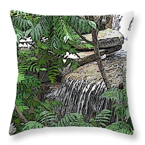 Respite Throw Pillow featuring the digital art Respite From The Maddening Crowds by Tim Allen