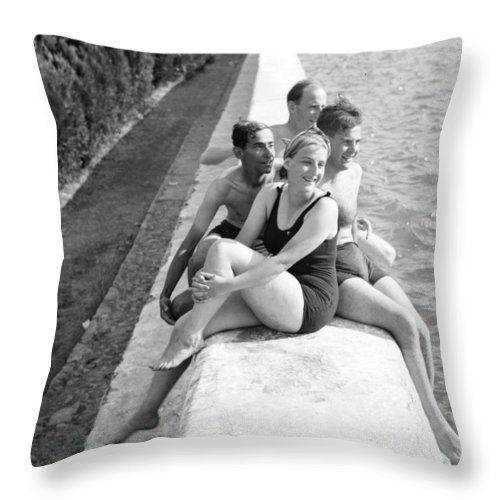 Solomon's Pools Throw Pillow featuring the photograph Rest Time 1946 by Munir Alawi