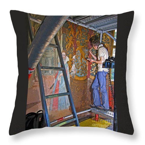 Art Throw Pillow featuring the photograph Restoring Art by Ann Horn