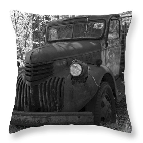 Rustic Throw Pillow featuring the photograph Retired Rusty Relic Farm Truck by John Stephens