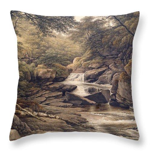 Waterfall Throw Pillow featuring the painting Rhiadr Ddu Near Maentwrog North Wales by John Glover