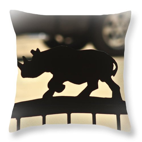 Rhino Throw Pillow featuring the photograph Rhino by Kim Henderson