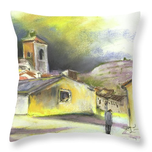 Spain Throw Pillow featuring the painting Ribera Del Duero In Spain 05 by Miki De Goodaboom