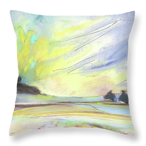Spain Throw Pillow featuring the painting Ribera Del Duero In Spain 07 by Miki De Goodaboom