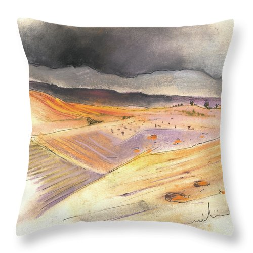 Spain Throw Pillow featuring the painting Ribera Del Duero In Spain 08 by Miki De Goodaboom