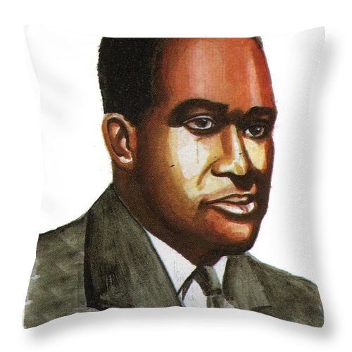 Portraits Throw Pillow featuring the painting Richard Wright by Emmanuel Baliyanga