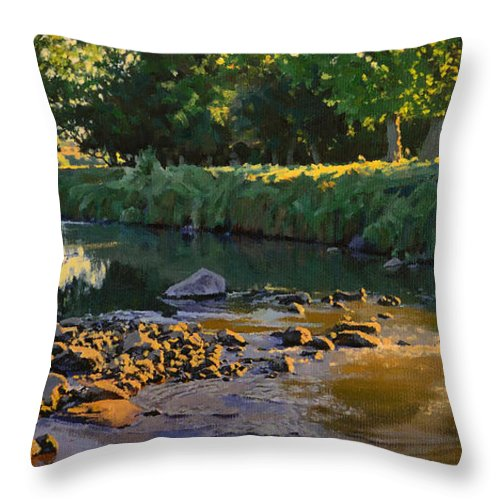Landscape Throw Pillow featuring the painting Riffles - First Light by Bruce Morrison