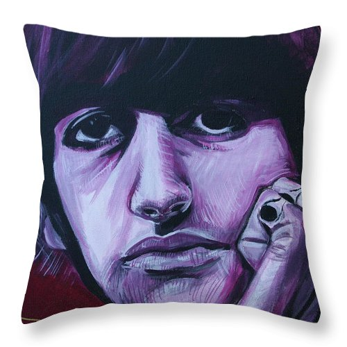 Beatles Throw Pillow featuring the painting Ringo Star by Kate Fortin