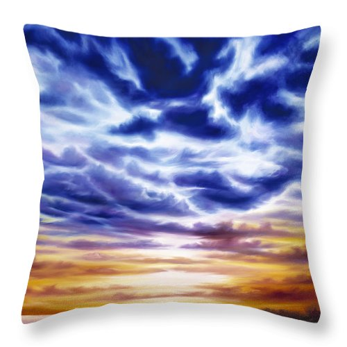 Sunrise; Sunset; Power; Glory; Cloudscape; Skyscape; Purple; Red; Blue; Stunning; Landscape; James C. Hill; James Christopher Hill; Jameshillgallery.com; Ocean; Lakes; Sky; Contemporary; Yellow; Ocean; River; Water Throw Pillow featuring the painting Rise by James Christopher Hill
