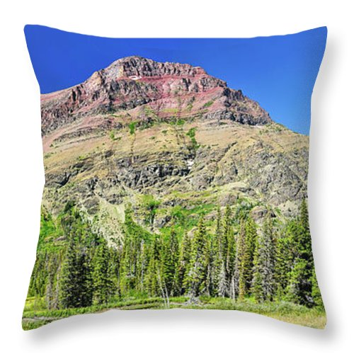 Glacier National Park Throw Pillow featuring the photograph Rising Wolf Mountain by Greg Norrell