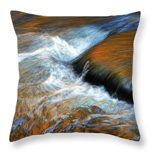 River Throw Pillow featuring the photograph River Of Fire by Dave Mills
