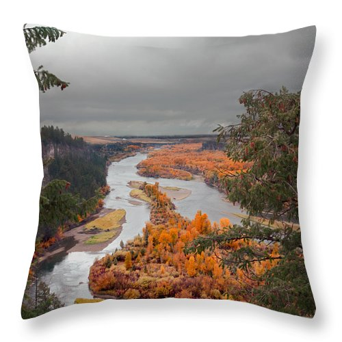 River Throw Pillow featuring the photograph River Overlook by Grant Groberg