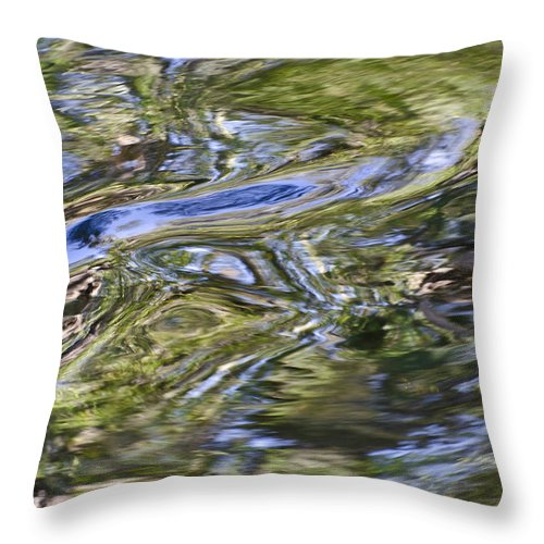 Abstract Throw Pillow featuring the photograph River Swirls - Abstract by Carolyn Marshall