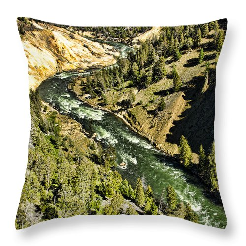 Yellowstone National Park Throw Pillow featuring the photograph River View by Jon Berghoff