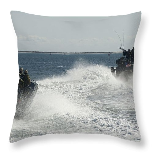 Exercise Bold Alligator Throw Pillow featuring the photograph Riverine Command Boats And Security by Stocktrek Images