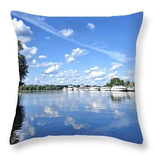 River Throw Pillow featuring the photograph Riverside Marina by Mark Sellers