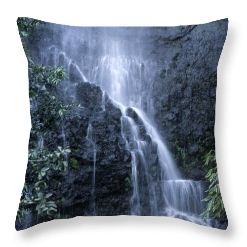 Waterfall Throw Pillow featuring the photograph Road To Hana Waterfall by Sandra Bronstein