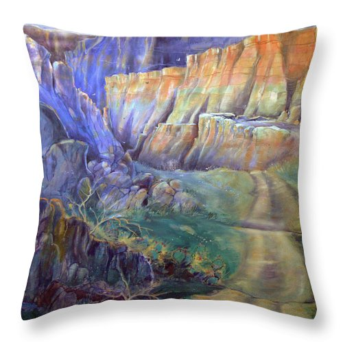 Southwest Throw Pillow featuring the painting Road To Rainbow Gulch by Gertrude Palmer
