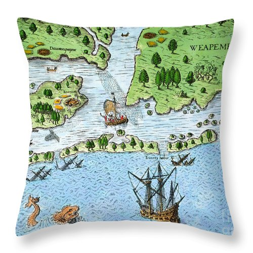 1585 Throw Pillow featuring the photograph Roanoke Landing, 1585 by Granger