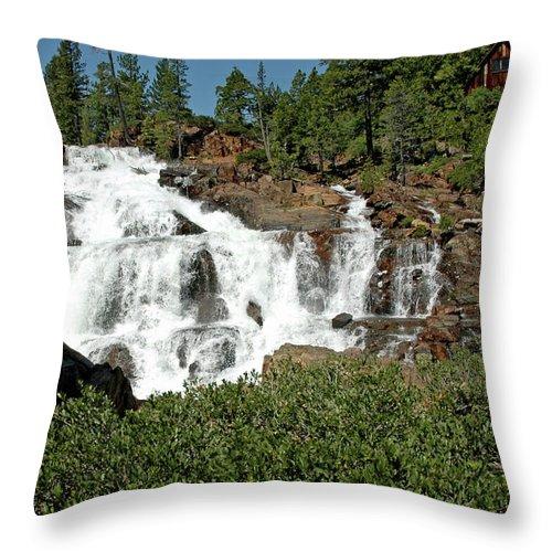 Usa Throw Pillow featuring the photograph Roaring Falls Glen Alpine Falls by LeeAnn McLaneGoetz McLaneGoetzStudioLLCcom