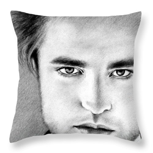 Edward Throw Pillow featuring the drawing Robert by Lena Day