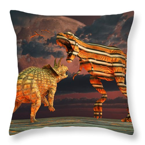 Horizontal Throw Pillow featuring the digital art Robotic T. Rex & Triceratops Battle by Mark Stevenson
