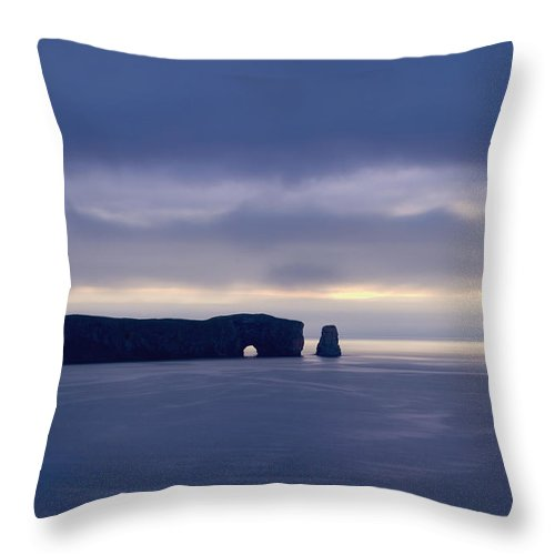 Beach Throw Pillow featuring the photograph Rock Formation Perce Rock In The Water by Philippe Widling