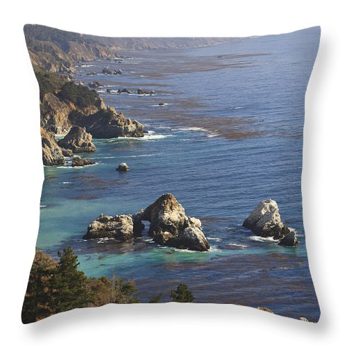 Blue Sky Throw Pillow featuring the photograph Rock Formations Along The Coast Big Sur by Stuart Westmorland