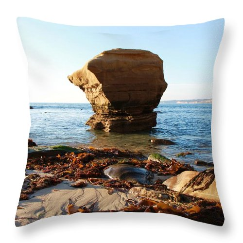 Beach Throw Pillow featuring the photograph Rock Island by Caroline Lomeli