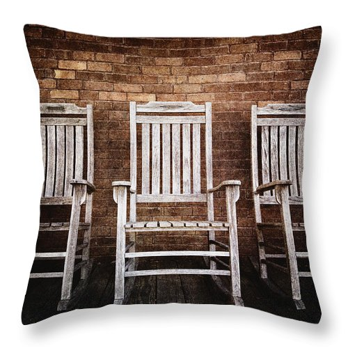 Absence Throw Pillow featuring the photograph Rocking Chairs by Skip Nall