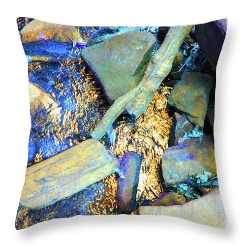 Waterfall Throw Pillow featuring the photograph Rocks Of Gold by Jost Houk