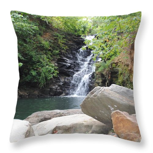 Waterfall Throw Pillow featuring the photograph Rocks Of The Falls by Jost Houk