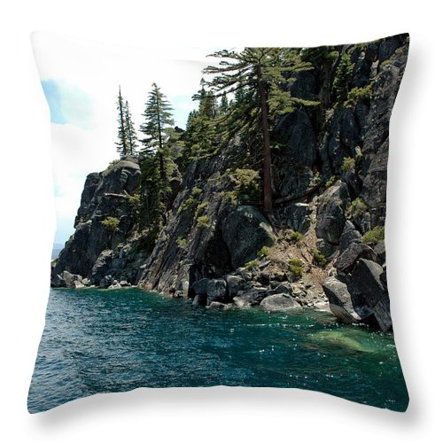 Usa Throw Pillow featuring the photograph Rocks To Climb Lake Tahoe by LeeAnn McLaneGoetz McLaneGoetzStudioLLCcom